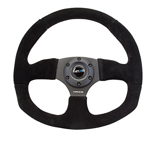(NRG 320mm Sport Suede Steering Wheel Oval with Red Stitching)