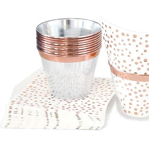 100 9oz Rose Gold Plastic Cups and 100 3-ply Foil Cocktail Napkins – Disposable Wine Cups or Glasses and Beverage…