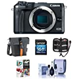 Canon EOS M6 24MP Mirrorless Digital Camera (Body Only) Black - Bundle Holster Case, 16GB SDHC Card, Memory Wallet, Cleaning Kit, Pc Software Package