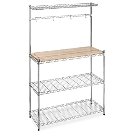 Bakers Rack with Cutting Board and Storage Chrome Shelves Kitchen Work Station Shelf Organizer K60  sc 1 st  Amazon.com & Amazon.com: Bakers Rack with Cutting Board and Storage Chrome ...