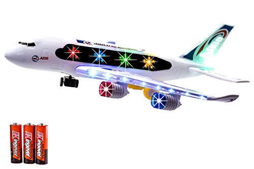 r Airbus Airplane Toy Bump and Go Action with Flashing Lights and Loud Sound Effects Toy for Kids Age 3 And Up. ()