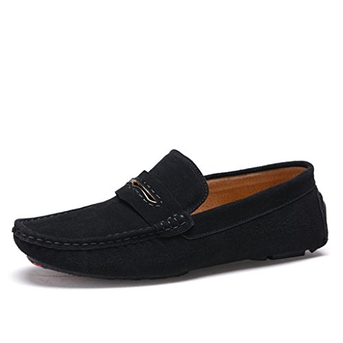 Minitoo Men's gestreift, verklagt Leder Mokassins Slipper Boat Shoes Schwarz
