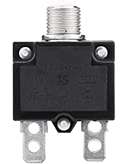 KIMISS Thermal Overload Protector,AC 125/250V Reset Thermal Switch Circuit Breaker Over Current Overload Protector for Generator(10A / 15A / 20A) (15A)