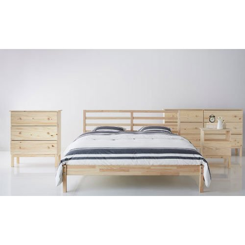 ikea tarva queen size bed frame solid pine wood brown. Black Bedroom Furniture Sets. Home Design Ideas