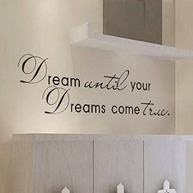 MZY LLC (TM) Dream Until Your Dreams Come True Wall Famous PVC Wall Sticker Decal Quote Art Vinyl Color: Black, Model: