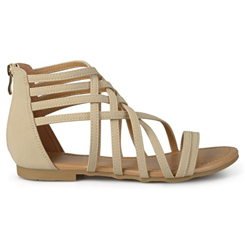 Brinley Co Mujeres Hex Flat Sandal Nude