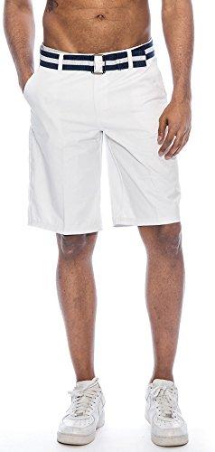 (TR Fashion Men's Bahamas Belted Walking Shorts (White, 30))