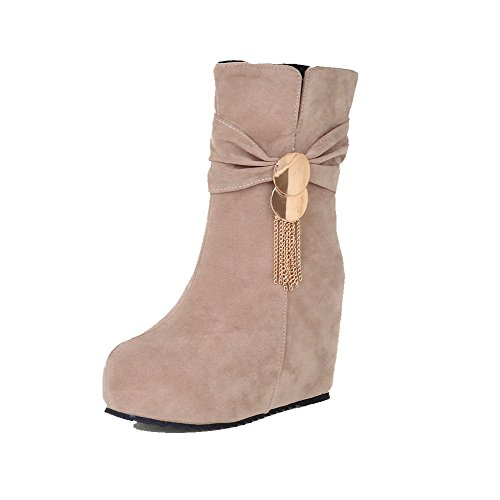 with Charms Beige Toe Women's Allhqfashion Closed Boots Frosted top Zipper Round Heels High Low 7CqwPp