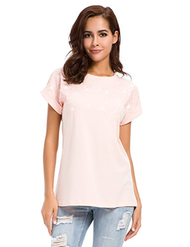 nordicwinds Women's Summer Casual Crew Neck Plain Fit T-Shirt Tops ()