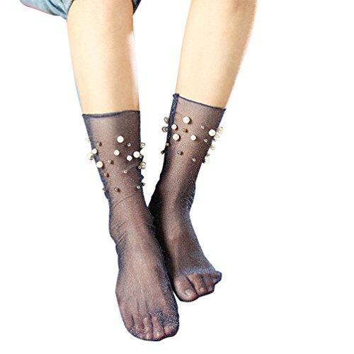 YJYdada Women Ruffle Fishnet Ankle High Socks Mesh Lace Fish Net Short Socks (Blue)