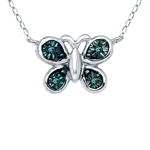Butterfly Necklace With Blue Diamonds In Sterling Silver