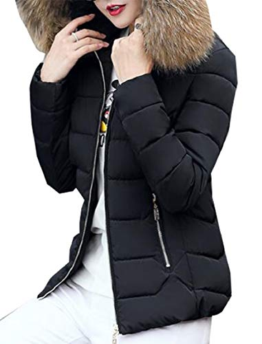 Hood 2 with Down Puffer Slim Fur Coat Parka Women's Fit with Down Jacket Fashion security 6FngqZY8