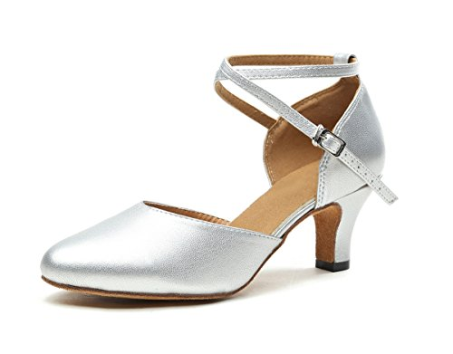 Minishion Damenmode Performance Salsa Tango Ballroom Latin Dance Sandalen Leder / Silber-6cm Absatz