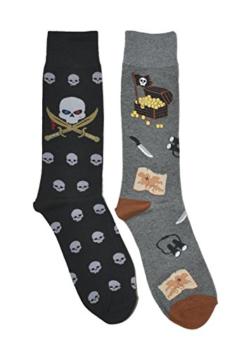 Mens Novelty Trouser Socks 2 Pair Bundle FineFit Themed Pattern (Pirate Skulls & Treasure)