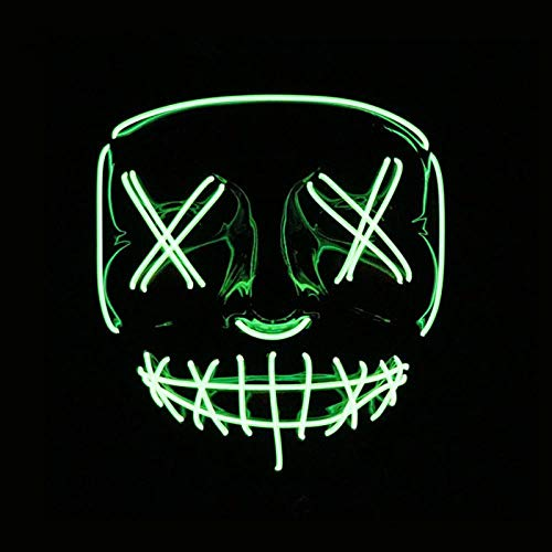 LED Mask Halloween Party Mask Masquerade Mask Neon Maske Light Glow in Dark Mascara Horror Maska Glowing Mask Clear, Fluorescent Green -