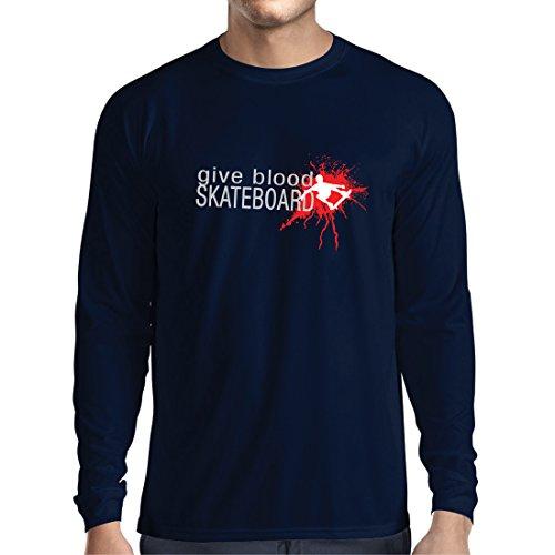 lepni.me Camiseta de Manga Larga para Hombre Give Blood Skateboard! - Citas Divertidas de Skateboard, Patinador Profesional...