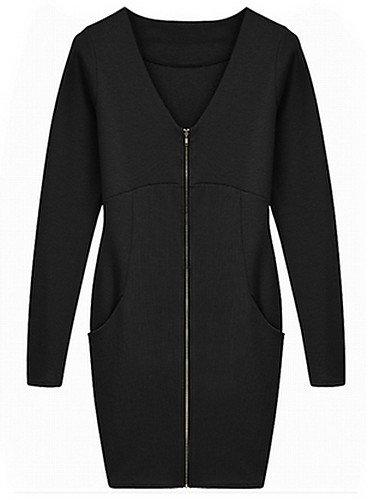PU&PU Robe Aux femmes Ample Street Chic,Couleur Pleine Col en V Au dessus du genou Polyester , black-2xl , black-2xl