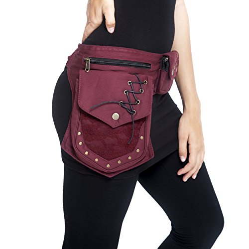 Practical Fannypack Cotton Waistbag Travel Utility Travel Belt-Maroon-One Size