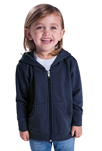 Rabbit Skins Infant Fleece Long Sleeve Full Zip Hooded Sweatshirt (Black, 12 Months)