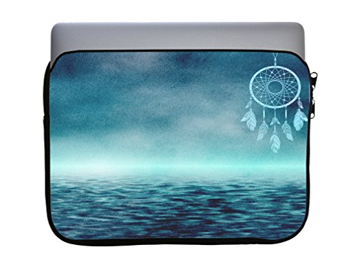 Dream Catcher Tribal Indian Symbol Over the Water Ocean 13x10 inch Neoprene Zippered Laptop Sleeve Bag by Moonlight Printing for Macbook or any other Laptop