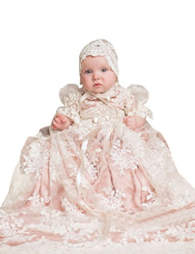 Christening Dress Tulle Satin (Aorme Infant Toddler Baby Girls Christening Gown Dress Long Lace Tulle 6-9 Months)
