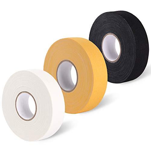 EALER Cloth Hockey Tape Combo Pack - One Black Tape, One White Tape and One Yellow Hockey Tape 3 Rolls 1
