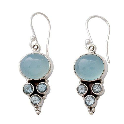 NOVICA Blue Topaz and Chalcedony .925 Sterling Silver Dangle Earrings 'Bubbling Stream' (Earrings Blue Topaz Chalcedony)