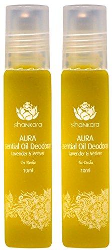 Shankara Aura Essential Oil Deodorant - All-Natural Deodorant - Vegan, Anti-Bacterial, Odor-Fighting Deodorant for Men & Women - Alcohol, Paraben & Aluminum Free Deodorant - Lavender & Vetiver -2 (Alcohol Free Deodorant Spray)