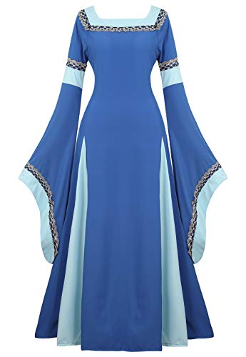 Renaissance Costume Women Medieval Dress Bell Sleeve Lace Up Vintage Retro Long Dress Halloween Cosplay Costumes, Blue, XX-Large]()