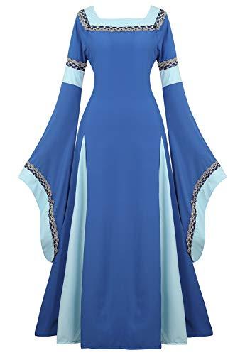 Renaissance Costume Women Irish Medieval Dress Vintage Retro Gown Deluxe Victorian Long Dresses Cosplay Costumes Light Blue -