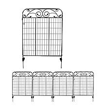 "MTB Black Coated Steel Decorative Garden Fence Panel 8 Leaves, Folding Metal Fence 44"" H36 W (Pkg of 4, Linear Length 12 feet) Garden Fence Border"