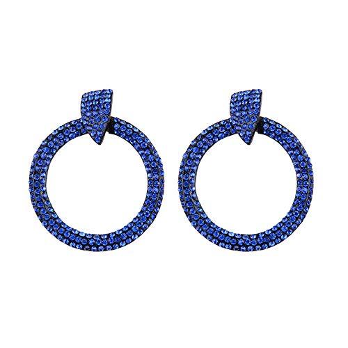 (Barabum Bohemian Rhinestone Dangle Drop Tiered Tassel Druzy Circle Stud Earrings Women Gift)