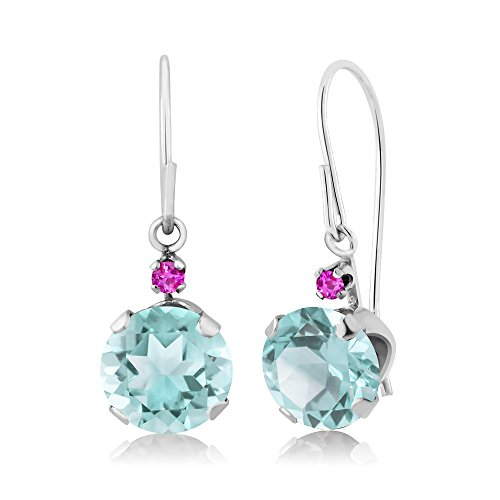 2.42 Ct Round Sky Blue Topaz Pink Sapphire 14K White Gold Earrings