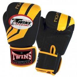 Twins ツインズ ワイルド ストライプ ブラック / イエロー ボクシンググローブ 本革製  10オンス