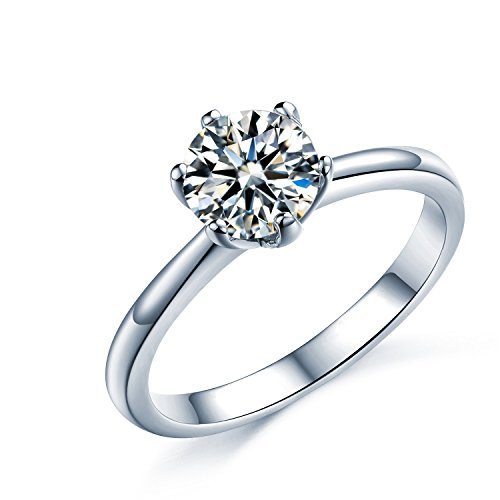925 Sterling Silver Brilliant Round Cut Crystals Solitaire Promise Forever...
