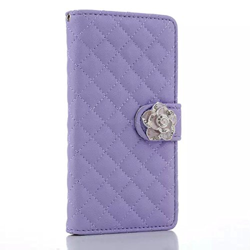 Uming Camelias Series Funda para IPhone6Plus IPhone6SPlus IPhone 6Plus 6SPlus con Holder para señora elegante del brillo de Bling cristal brillante flor Folio PU de la carpeta del cuero de la flor del Purple