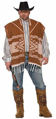 Forum Western Lonesome disfraz de vaquero con poncho y camisa para hombre, Como se muestra, XL