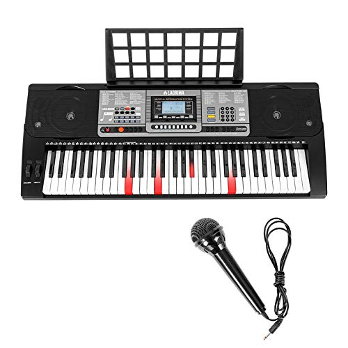 LAGRIMA 61 key Electric Keyboard Piano w/Light up Keys, Lighted Touch Sensititive & USB-Midi(App) Keyboard for Beginner w/Micphone, Power Supply and Music Stand