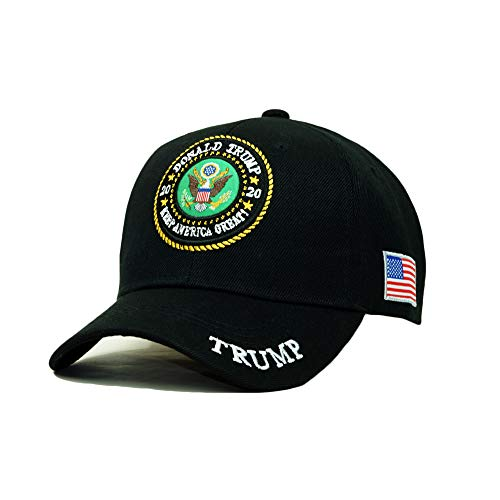 - Trump 2020 Keep America Great Embroidery Campaign Hat USA Baseball Cap (USA Emblem- Black)