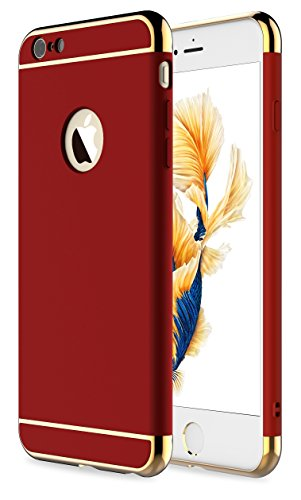 iPhone 6s Plus Case,iPhone 6 Plus Case,RORSOU 3 in 1 Ultra Thin and Slim Hard Case Coated Non Slip Matte Surface with Electroplate Frame for Apple iPhone 6/6s Plus(5.5) - Red and Gold