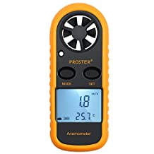 Proster Anemometer Handheld Wind Gauge Air Flow Meter Digital Thermometer with LCD Backlight Measuring Wind Speed Temperature Wind Chill for Windsurfing Kite Flying Sailing Surfing Fishing