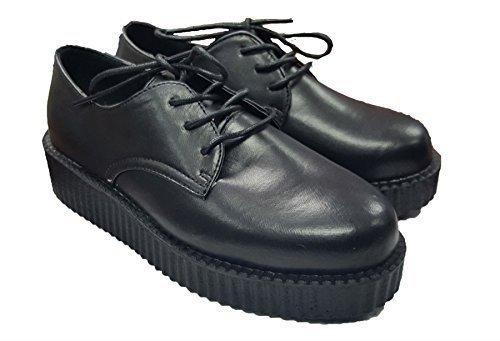 Mujer Escolar Formal Plano Suela Gruesa Zapatos Negros Cordones Cordones Negros e687e5