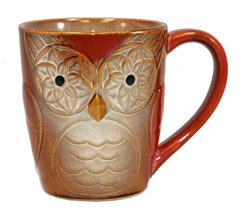 Gibson Owl City Elite Couture Ceramic Coffee & Tea Mug with an Owl Face, Rust 17 oz.