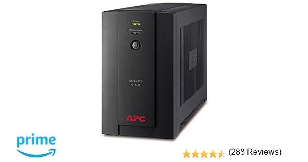 APC Back-UPS BX, BX950UI, Sistema de alimentación ininterrumpida SAI, 950 VA, 4 salidas tipo IEC, AVR, USB, software de apagado, Color Negro