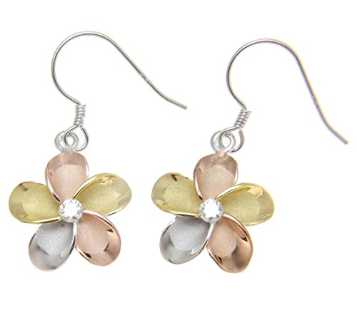 925 sterling silver yellow rose gold rhodium plated tricolor tricolor Hawaiian plumeria hook earrings cz 15mm