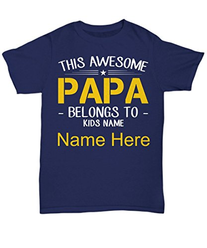 GBB Navy Unisex Round Neck T-shirt THE AWESOME PAPA BELONG TO KID NAME HERE (Size M)