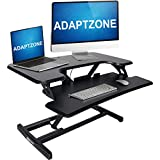 ADAPTZONE – 33 inches Standing Desk Converter – Ergonomic Height Adjustable Sit Stand Up Desk – Laptop Riser – Home Office Workstation for Dual Monitors