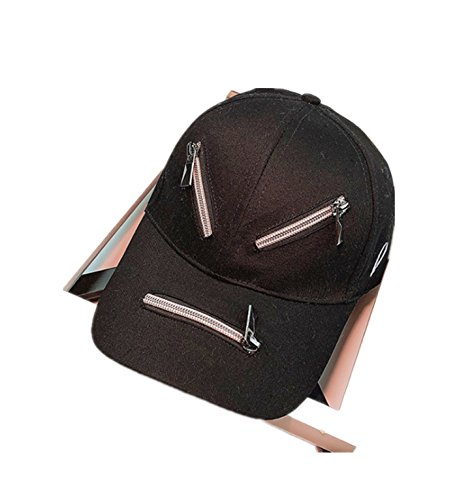 micrkrowen Face Type Diagram Hat Sunscreen Hip Hop Duck Tongue Shade Cap(Black) by micrkrowen