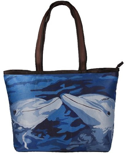 Dolphin Purse - Dolphins Shoulder Bag, Vegan Tote Bag - Animal Prints - From My Original Paintings - Support Wildlife Conservation, Read How (Dolphins - The Kiss)