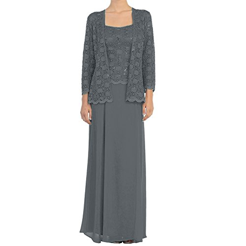 H.S.D Mother of the Bride Dress Chiffon Formal Gowns with Jacket Steel Grey 18W (For Dresses Older Women)